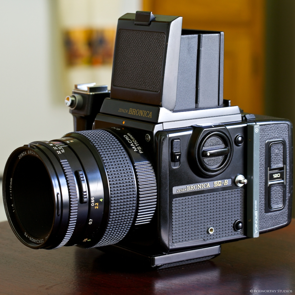 All cleaned up, loaded and ready for action, my trusty Bronica SQ-B medium format film camera waits for me!