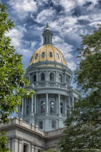 Newly renovated Colorado state capital dome. All of the copper plates that make up the dome were repaired or replaced and shipped to Italy along with gold mined in Colorado for gilding, then shipped back for installation.