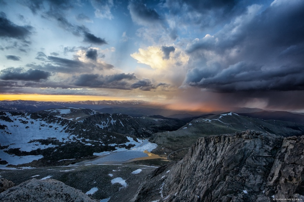After a summer storm atop the 14,250 foot peak of Colorado's Mt. Evans