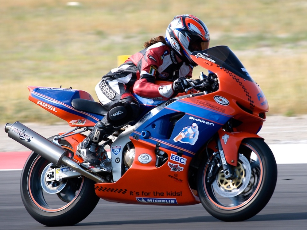 Sharon on her race bike for a spin around Miller Motorsports Park
